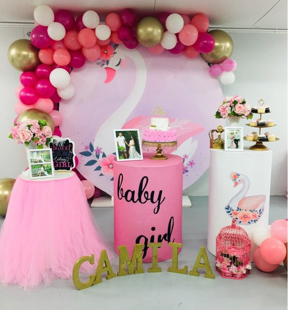 Ronde Cirkel Panel Achtergrond Fotografie Cartoon Prinses Zwaan Achtergrond Voor Kinderen Verjaardagsfeestje Decoratie Baby Shower Vinyl