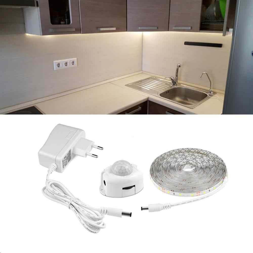 Wireless PIR MOTION SENSOR Light LED Strip 1-5 M SMD2835 DC12V AC110V/200 V Malam Lampu Dapur kabinet Tangga Tempat Tidur Lampu Strip LED