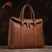 NUPUGOO-mallette en cuir Vintage pour hommes, mallette à bandoulière de bonne qualité, sac à main marron, Business Fashion, sac de bureau pour ordinateur portable de 15 pouces