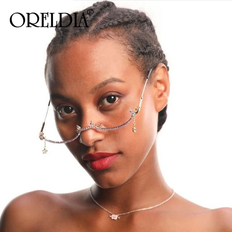 2019 Fashion Diamond Glasses Frame Women New Luxury Vintage Gold Silver Colorful Chain Rhinestone Water Drop Half Frame Glasses