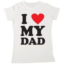 ICH Liebe Meinen Dad Damen Ich Herz T-Shirt V?ter Tag Geschenk Weihnachten Klassische Einzigartige T-shirt
