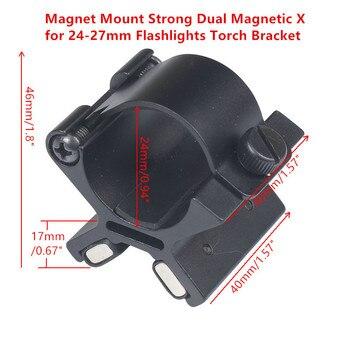 Taktik mıknatıslı tutucu güçlü çift manyetik X 24mm-27mm el feneri Torch braketi kapsam silah mesnedi avcılık orijinal kutusu
