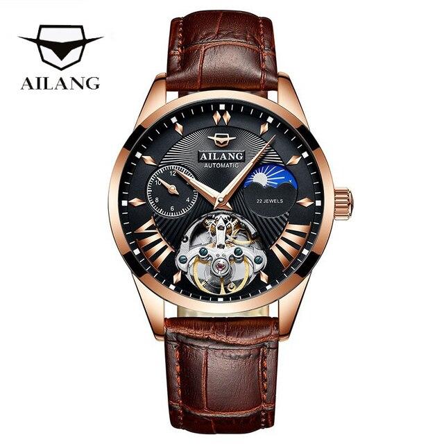 AILANG جودة توربيون ساعة رجالي الرجال القمر المرحلة التلقائي السويسري ساعات الديزل الميكانيكية ساعة Steampunk شفافة 3