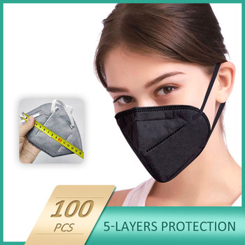10/100 units protection face mask equal to ffp2 mask Respirator anti dust adult protective face shield black gray optional image