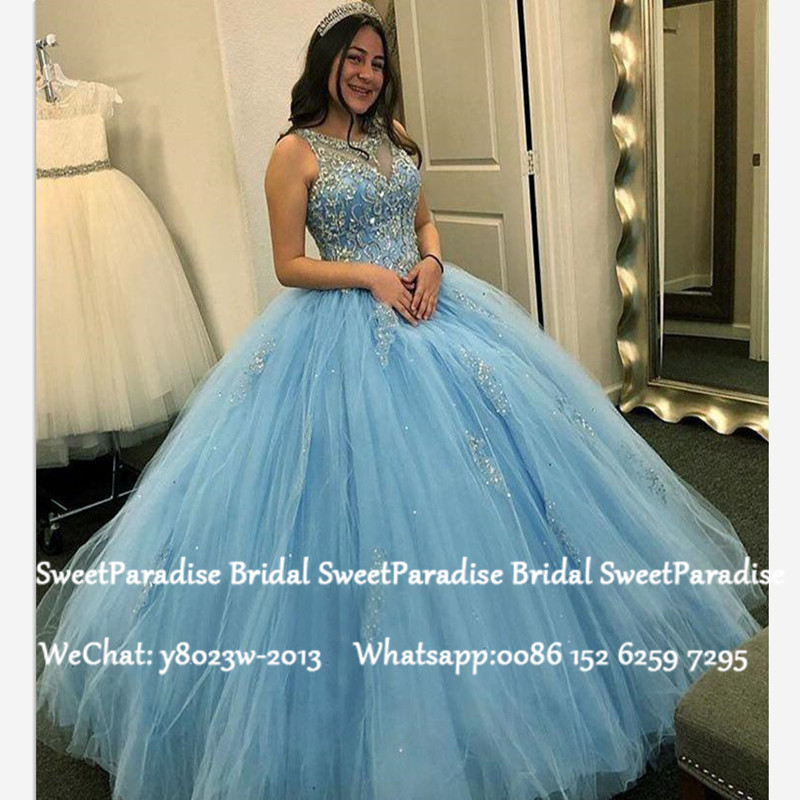 Cinderella Quinceanera Dresses With Appliques Beads 2020 Blue Tulle Sheer Neck Sweet 16 Prom Dress Pageant Vestidos De 15 Anos