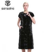 SARSALLYA 100% Real Mink Fur Vest Long Women Winter Fur Vest High Quality Mink Fur Coat