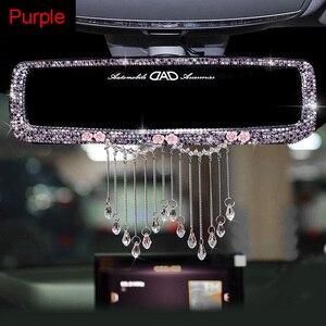 Image 5 - Criativo strass borlas interior do carro espelho retrovisor decoração charme flor cristal espelho traseiro ornamentos acessórios do carro