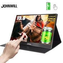 Przenośny Monitor z ekranem dotykowym 1920x1080 FHD IPS 15.6 calowy Monitor akumulator do laptopa PS4 przełącznik z etui