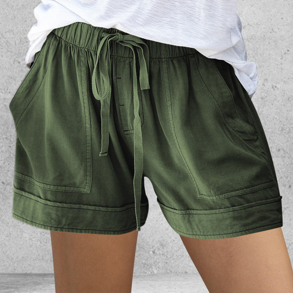 Women's Short Summer Loose Rope Tie Short Sport Shorts Casual Elastic Waist Cotton Linen Shorts Pink Pocket Beach Sport Shorts