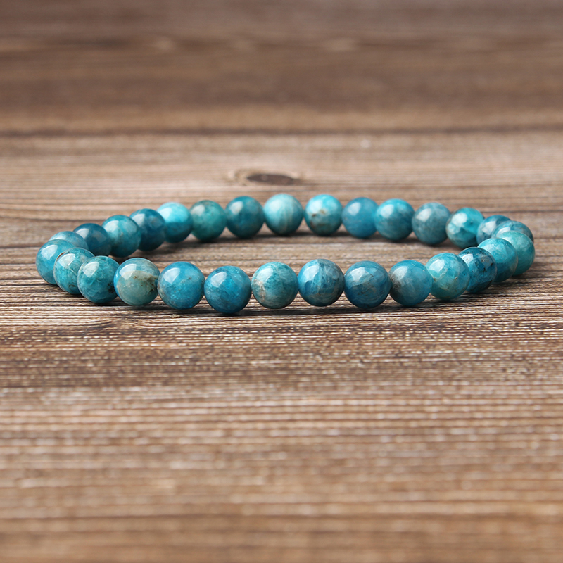 Lingxiang 4/6/8/10/12mm Natural blue apatite bracelet is suitable for men and women to wear elastic string beaded jewelry