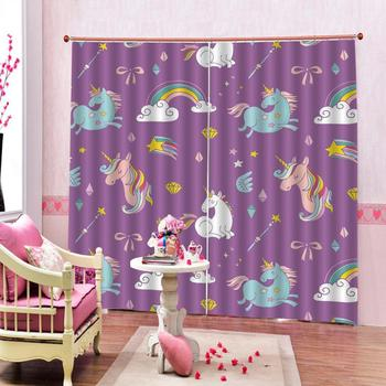 purple curtains Customized size Luxury Blackout 3D Window Curtains For Living Room kids curtains