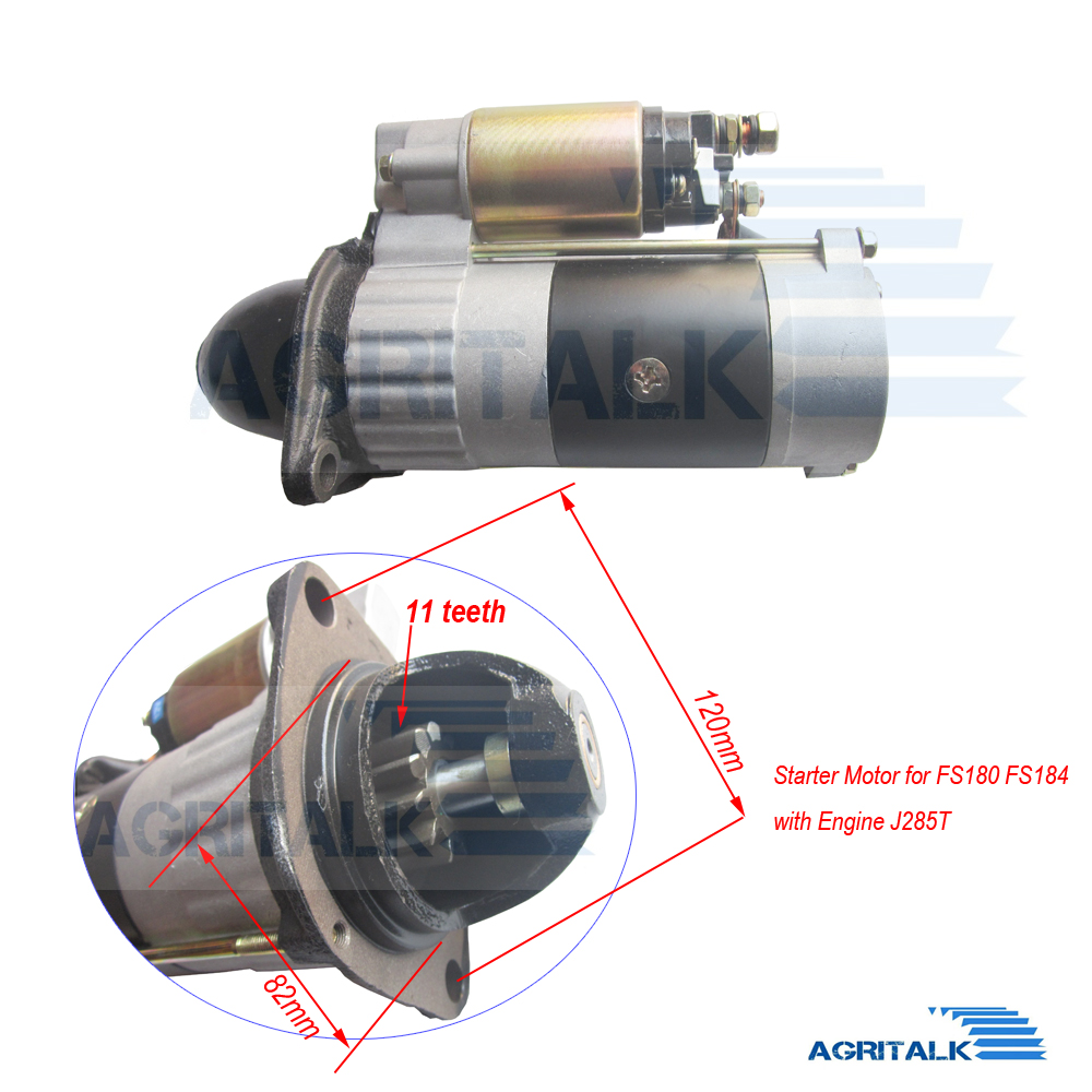 The Starter Motor For Fengshou Estate FS180-3 / FS184 With Engine J285T, Part Number: