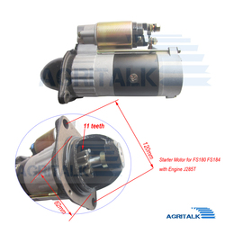 the starter motor for Fengshou Estate FS180-3 / FS184 with engine J285T, part number: