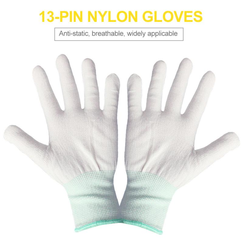 1 Pair Stable Quality Anti Static <font><b>ESD</b></font> Safe <font><b>Antistatic</b></font> <font><b>Gloves</b></font> Electronic Working <font><b>Gloves</b></font> PU Coated Antiskid For Finger Protection image