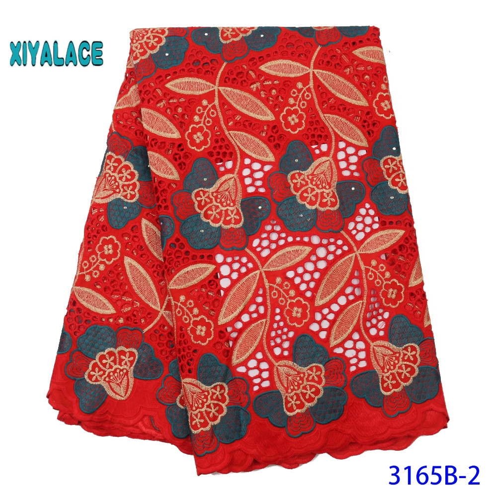 Latest Red African Lace Fabric Aso Oke Gele Headtie Scarf Embroidery Nigerian Lace Fabric 2019 French Voile Lace YA3165B-2