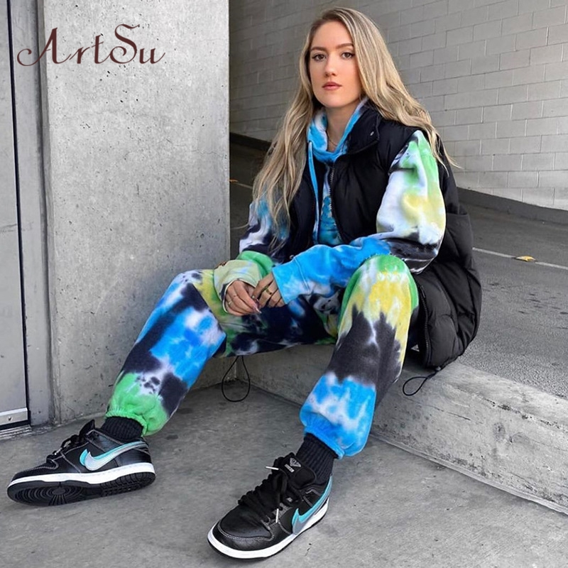 Artsu Butterfly Print Tie Dye Pants Women Fashion High Waist Loose Sweatpants Hip Hop Joggers Trousers Summer 2020 New Clothes