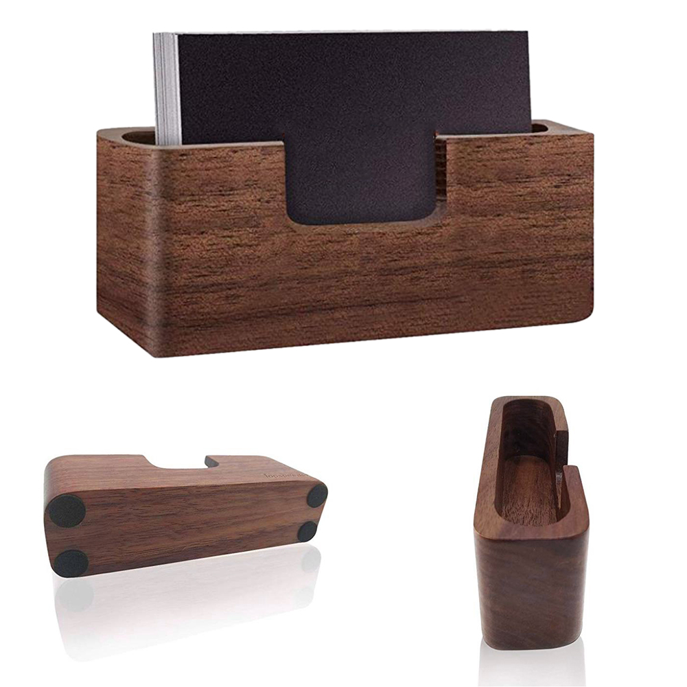 Practical Wood Business Case Filing Desk Professional Tables Organizer Card Display Holder Office Single Compartment Box Storage