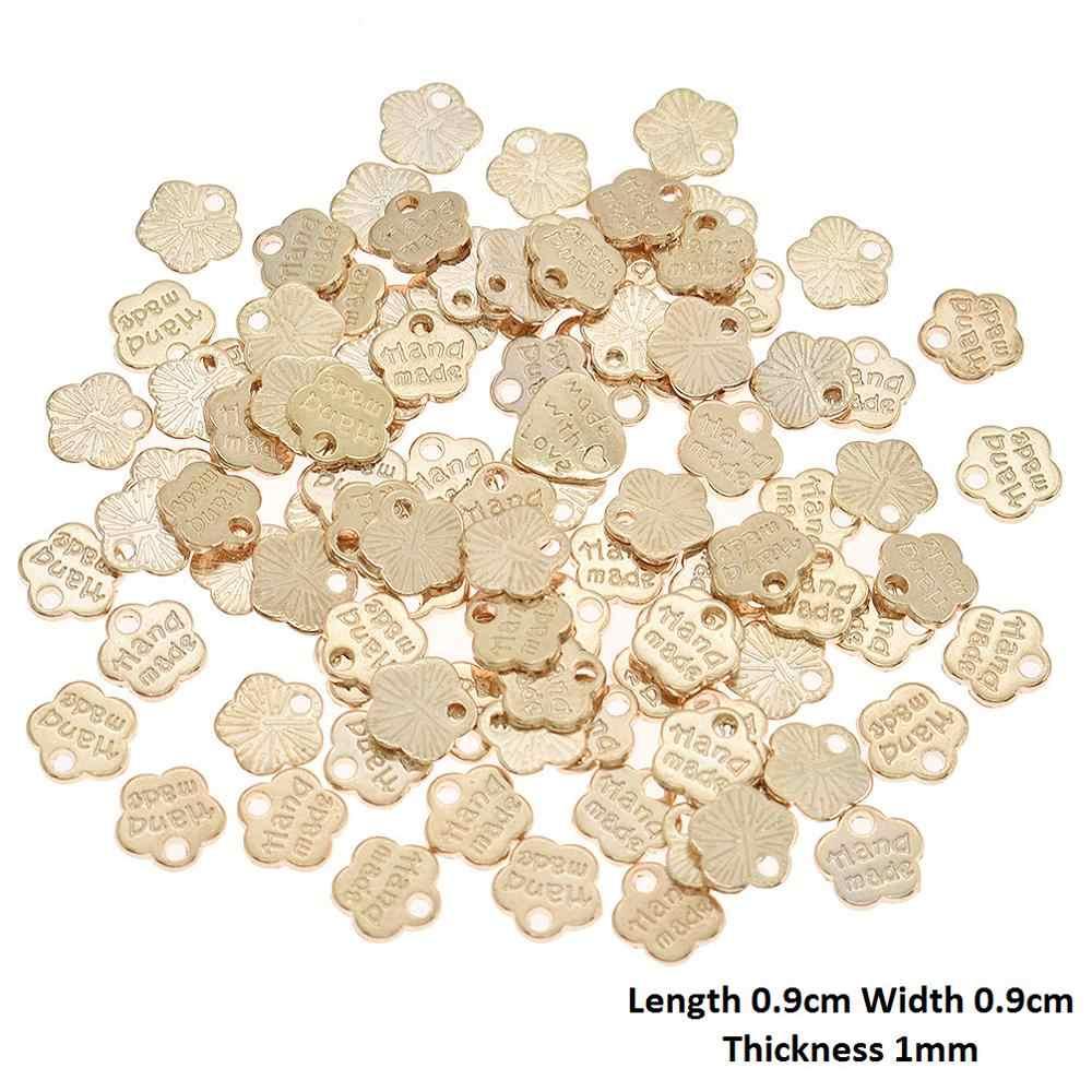 열매 생활 100PCS 골드 수제 편지 금속 레이블 의류 가방에 대 한 DIY 바느질 태그 의류 장식 액세서리