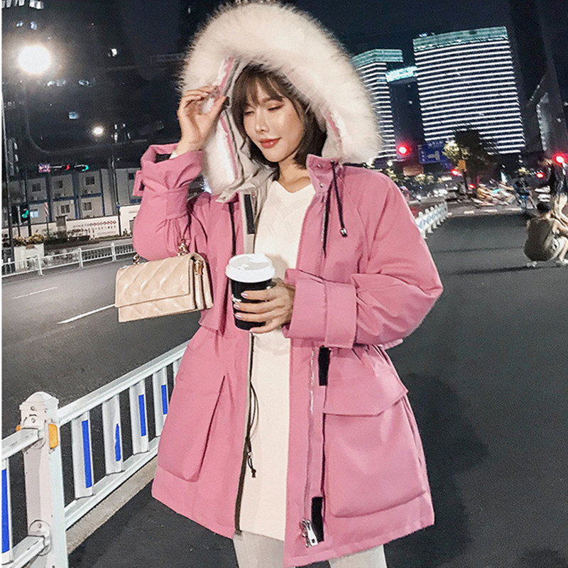 Thick Parkas Mujer 2019 New Winter Thick Casual   Down     Coat   Women Clothes Plus Size Raccoon Fur Hooded   Down   Jacket NS1493