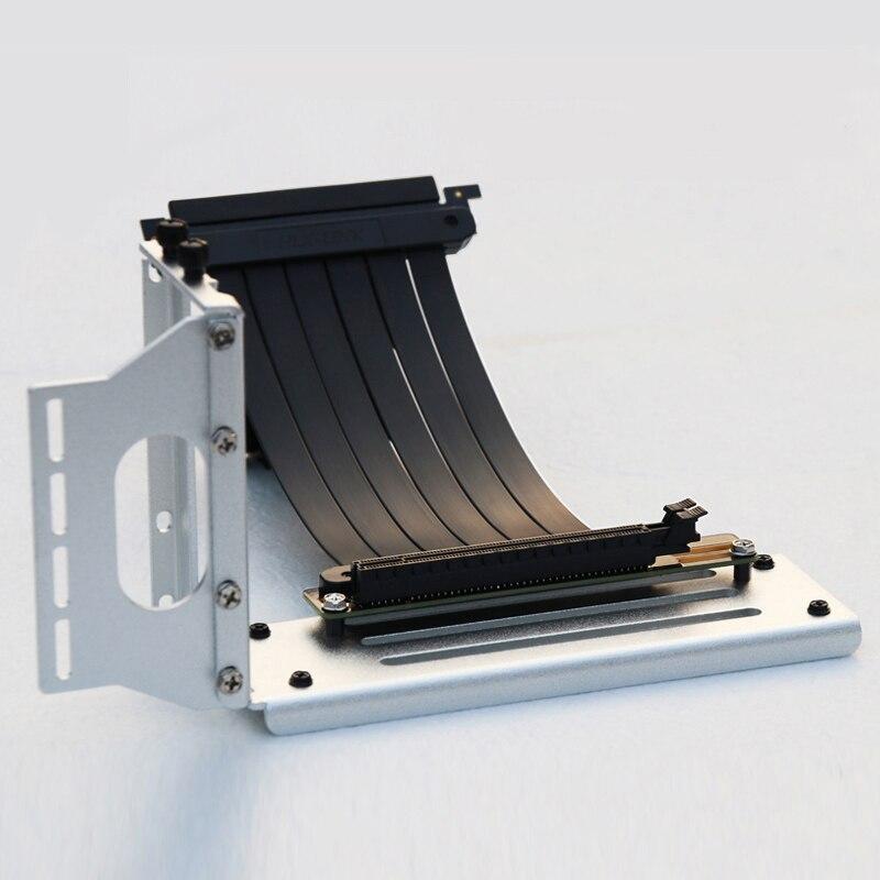 Pci-e 3.0 16x placa gráfica vertical kickstand/base atx caso conector flexível adaptador de porta de extensão de placa de riser para gpu