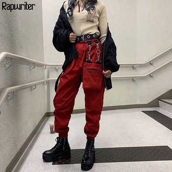 Rapwriter dorywczo elastyczny wysoki stan czarny Cargo spodnie damskie 2019 Punk Style z kieszeni biegaczy dziewczyna jesień Streetwear tanie i dobre opinie spandex Pełnej długości P8141W09 Stałe Cargo pants Plisowana Luźne Kieszenie Suknem Elastyczny pas Wysoka WOMEN Causal Fashion Streetwear