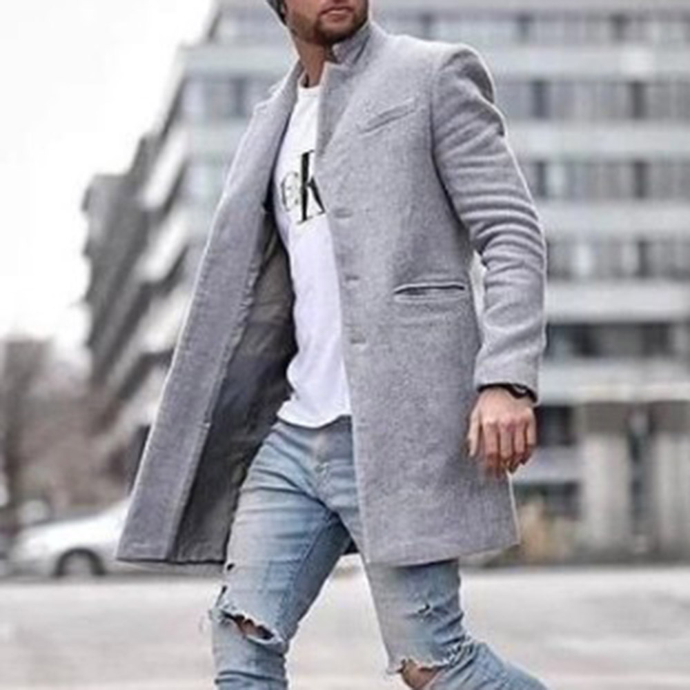 Autumn Winter 2019 Fashion Wool Coat Men Plus Size Outwear Black Warm Men's Long Blazer Coats Office Overcoat Tailored Coats 4XL
