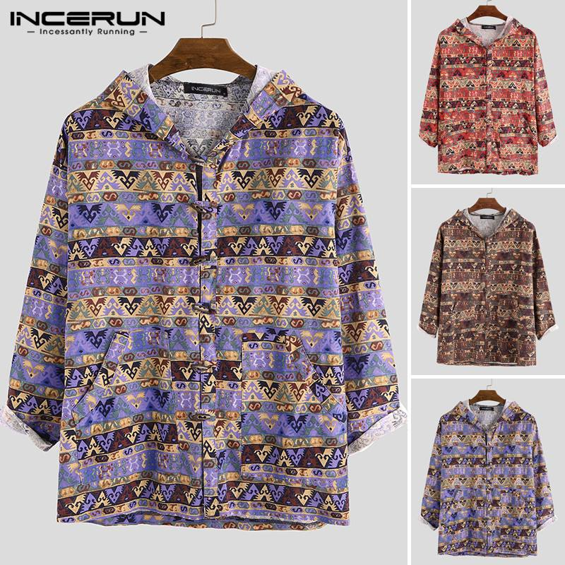 INCERUN Autumn Fashion Printed Men Hoodies Long Sleeve Outerwear Hooded Button Up Casual Retro Cotton Workout Sweatshirts Men