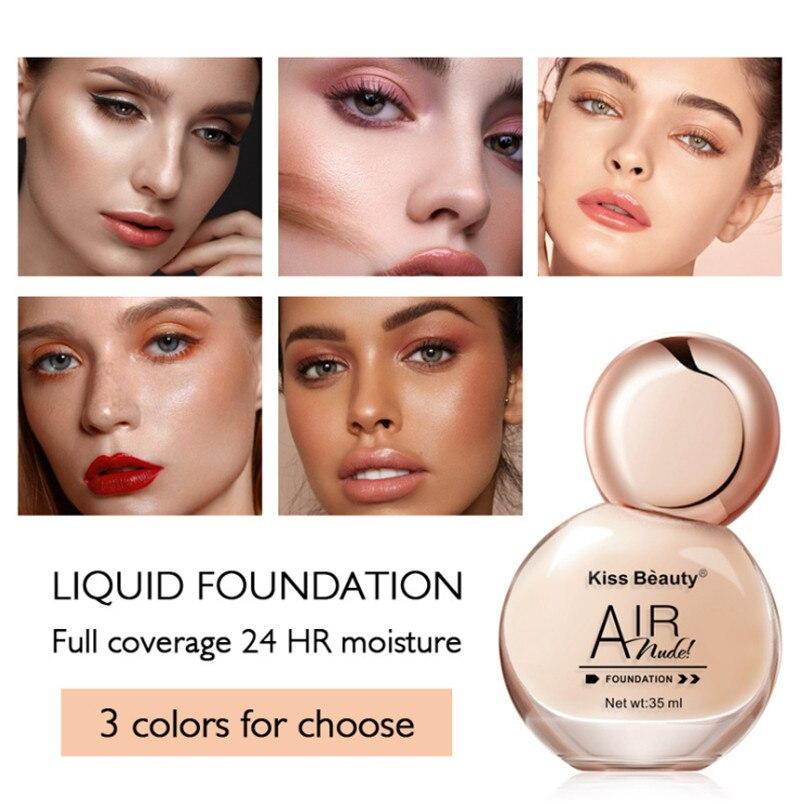 35ml Rosto Foundation Base de Longo Desgaste Corretivo de Controle de Óleo Hidratante Líquido Fundação Creme Maquiagem de Longa Duração de Toda A Pele