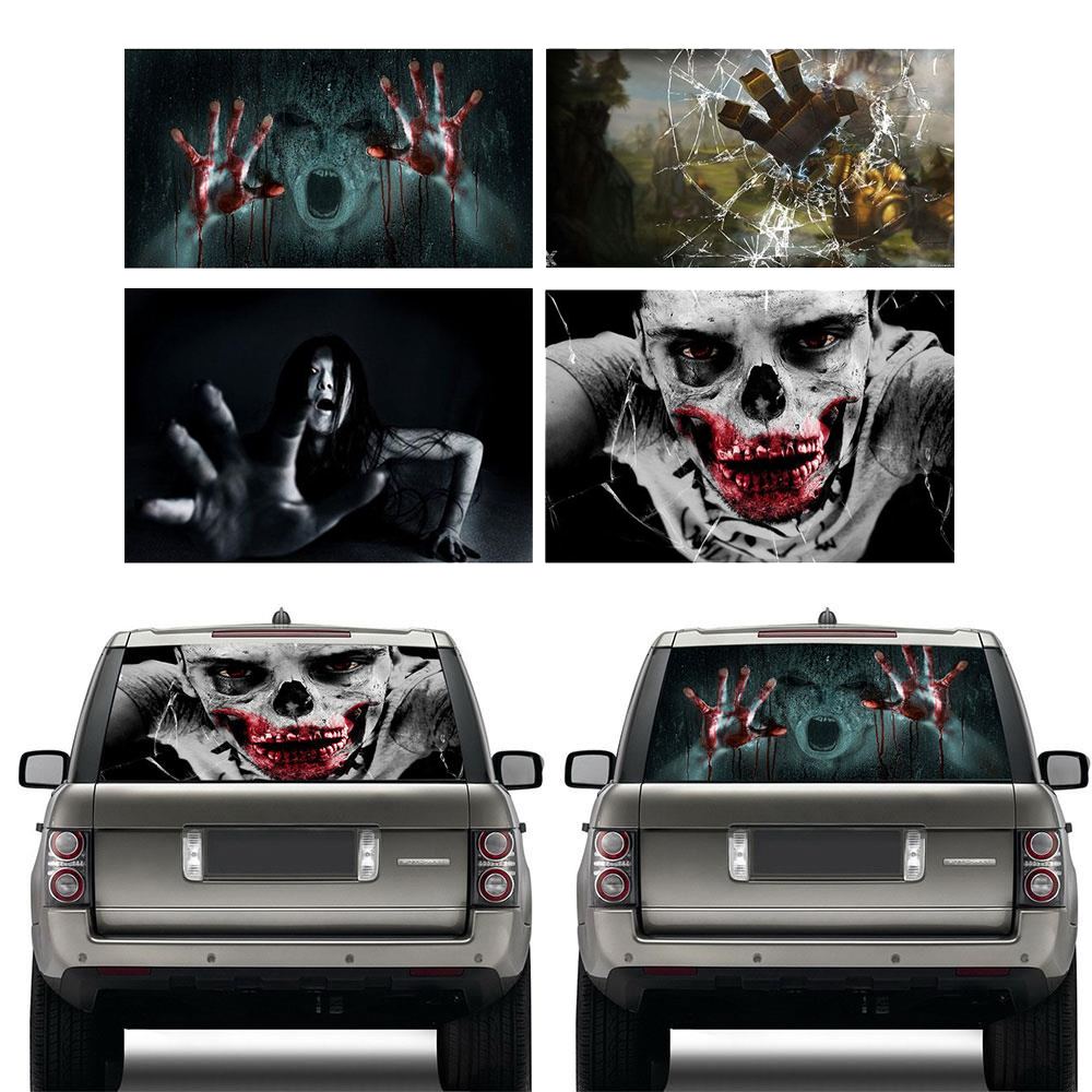3D Horror Decal Automobile Car Styling Window Glass 130x60cm PVC Reflective Sticker Halloween Gift Car Sticker