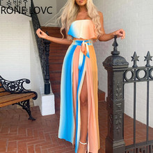 Mulheres Fora Do Ombro Frente Slit Vestido Colorblock Maxi Vestido Moda Elegante Vestido de Festa Chique
