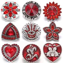 6pcs/lot New Snap Jewelry 18mm Metal Buttons Rhinestone Flower Owl Fit Bracelet Necklace