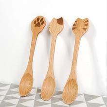 Stirring Spoon Scoop Coffee-Honey Kitchen Cute Bamboo Cooking Cat Wood Utensil