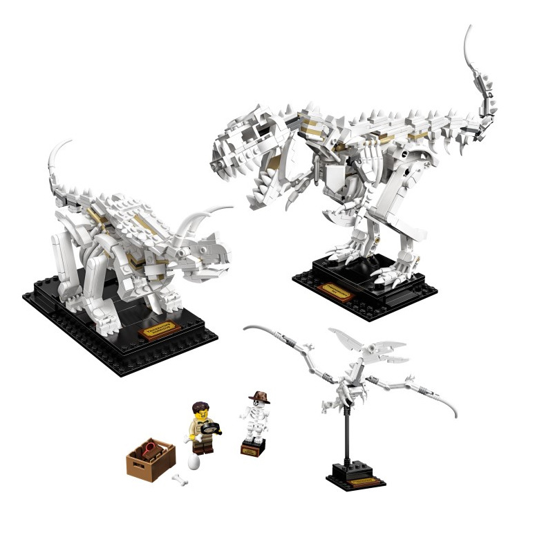 New 910pcs Ideas Jurassic World Museum Dinosaur Fossils Jurassic 21320 Building Blocks Bricks Dino Toys