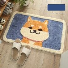 Cartoon Akita dog flocking carpet floor pad bathroom anti-skid  suction foot