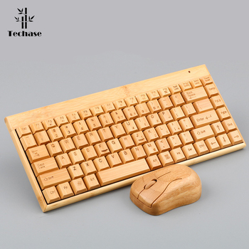 Techase Wireless Keyboard and Mouse Combo Suit Bamboo Mini Teclado E Mouse Sem Fio Gaming Mouses For Notebook Klavye Mouse Set