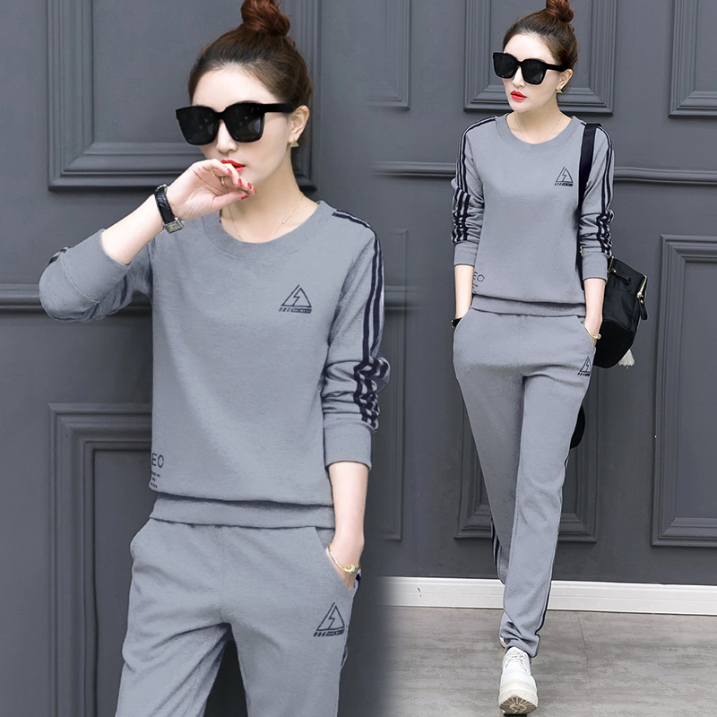 2019 New Age Season Korea Format Suits Ladies Leisure Long Sleeve Show Thin Fleece Two-piece Outfit
