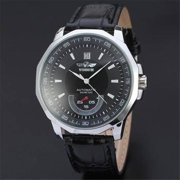 Nowa produkcja 2020 Top marka modne męskie zegarki automatyczne zegarki męskie Auto data mechaniczne zegarki skórzane zegarki na rękę zapasy tanie i dobre opinie WOONUN Nie wodoodporne Klamra Moda casual Automatyczne self-wiatr 24cm STAINLESS STEEL Kompletna kalendarz 9696 ROUND