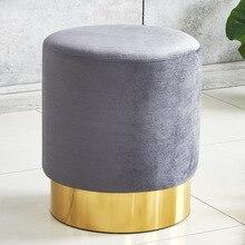 Nordic light luxury small round stool creative home short stool fabric sofa stool for shoe stool living room small pier
