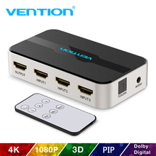лучшая цена Vention HDMI Splitter 3 x 1 4K 3 Port HDMI Switcher 3 in 1 Out Switch HDMI with Toslink Audio 3D 2160P For Xbox 360 PS4 Smart TV