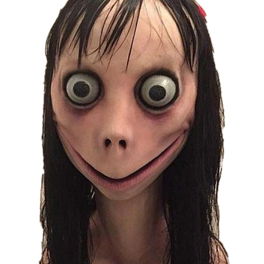 Scary Momo Mask Hacking Game Horror Latex Mask Full Head Momo Mask Big Eye With Long Wigs image