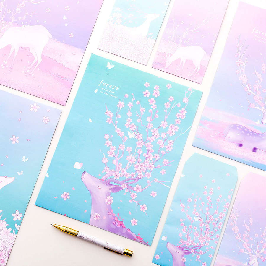 9 Pcs/Set 3 Envelopes 6 Letter Papers Fantasy Deer And Forest  Series Letter Envelope Set Gift Stationery