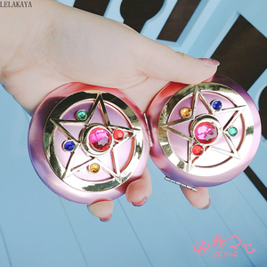 Image 5 - Anime Sailor Moon Moonlight Action Figure Folded Mirror Pink Metal Crystal Star Cosmetic Makeup Mirrors Cosplay Gifts toy New