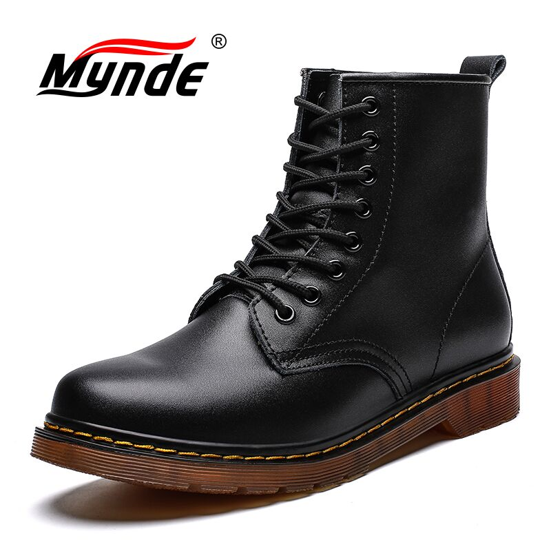 2019 New Brand Leather Ankle Boots Autumn Winter Men's Boots Fashion Motorcycle Boots Outdoor Working Snow Boots Men Shoes