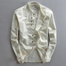 Nowe męskie bawełniane lniane koszule z długim rękawem Casual Slim mandarynki koszule kołnierzykowe wysokiej jakości męskie biznesowe bawełniane ubranie koszule DA528 tanie tanio COTTON Pełna Skręcić w dół kołnierz NONE REGULAR Suknem Na co dzień Stałe Dropshipping