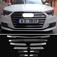 10pcs Chrome ABS Car Front Grill Grille Decorative Cover Trim Strips For Audi A3 2017-2018 Car Styling Decals car body kits abs chrome front grill cover car sticker for toyota vios 2017