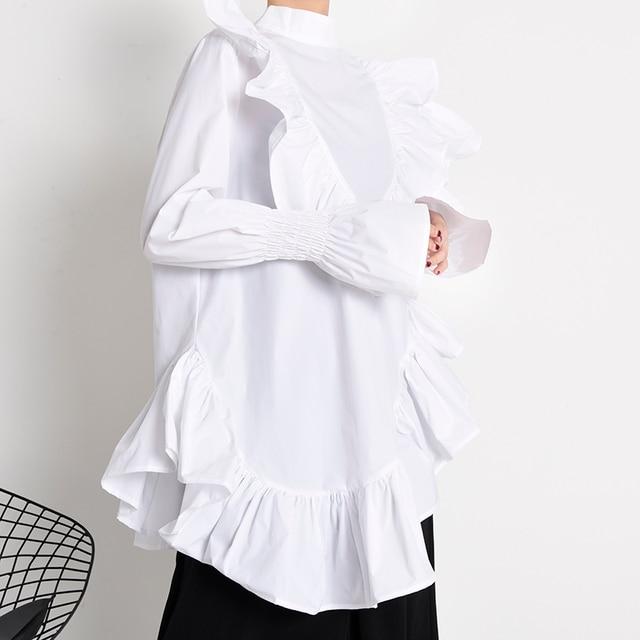 [EAM] Women Ruffles Irregular Blouse New Stand Collar Long Sleeve Loose Fit Shirt Fashion Tide Spring Autumn 2021 1Z19900 4