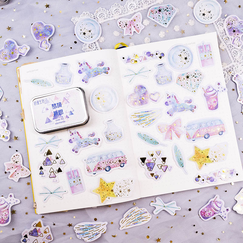 60 Pcs/Box Cute Moon Star Decorative Stickers Gold Foil Unicorn Sticker Kawaii Planet Stationery Sticker For Diary Scrapbooking