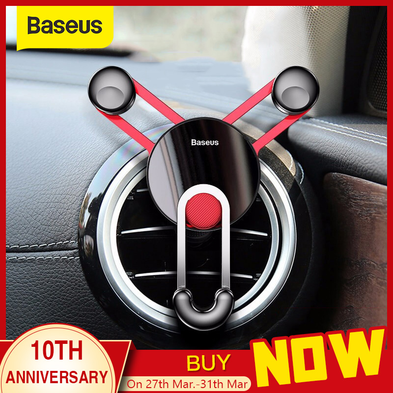 Baseus Car Phone Holder Gravity Air Vent Mount Mobile Phone Holder Stand For Android Smartphone With USB C Cable For Samsung