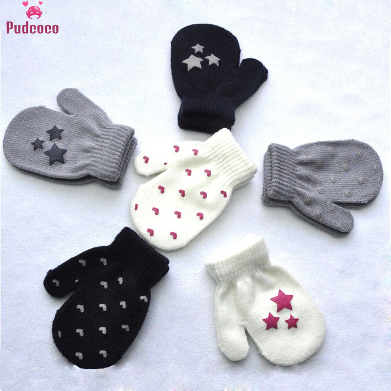 Star Heart Dot Pattern Baby Kids Gloves Boys Girls Winter Warm Knitted Mittens