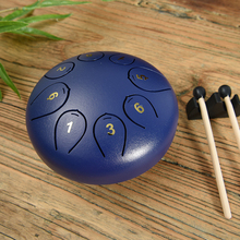 Tongue Drum 6 Inch Steel Tongue Drum Set 8 Tune Hand Pan Drum Pad Tank Sticks Carrying Bag Percussion Instruments Accessories